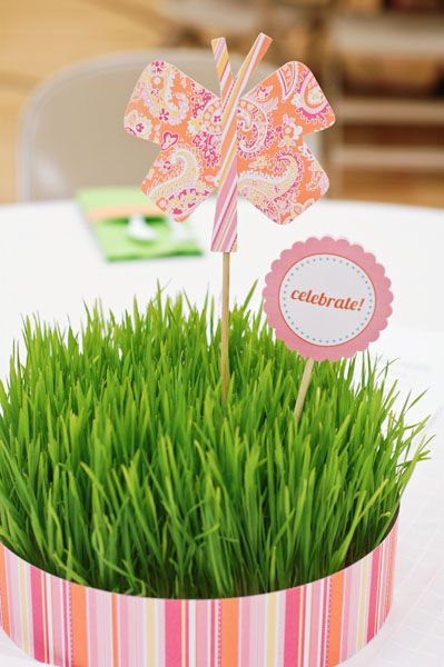 Pink Paisley Butterfly in a Grass Centerpiece – spotted on Pinterest