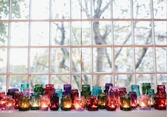 Mixed Jewel Tone Jars and Votive Décor – shared on 100 Layer Cake