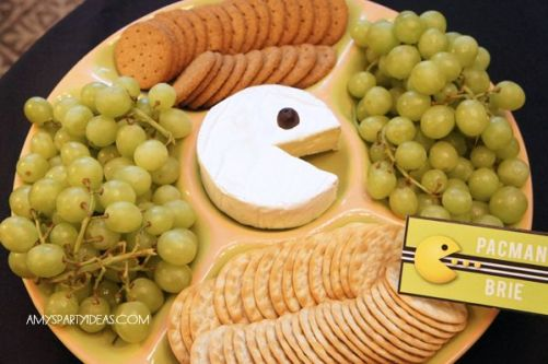 Pac Man Cheese Platter and Crackers – shared by Amy's Party Ideas