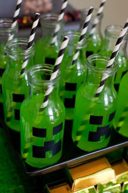 Minecraft Green Party Drinks – shared on Hostess With the Mostess