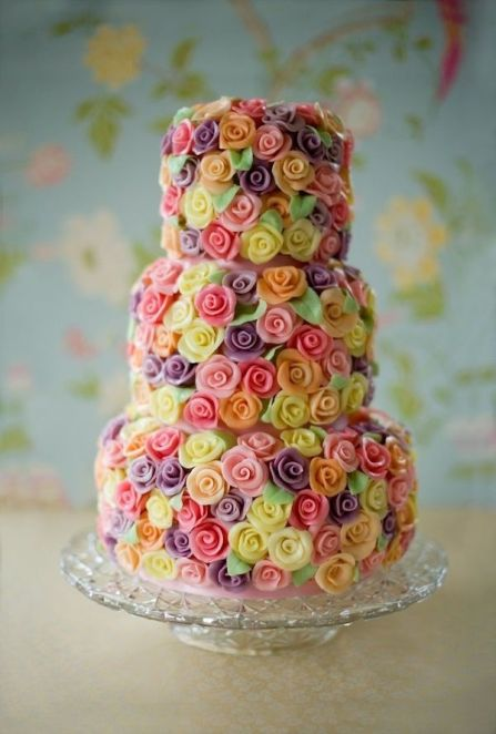 Multi-layer Pastel Colored Roses Cake – shared on Cakes and Cupcakes Mumbai