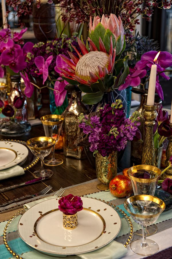 Bohemian Floral and Gold Tablescape – shared on The Wedding Chicks
