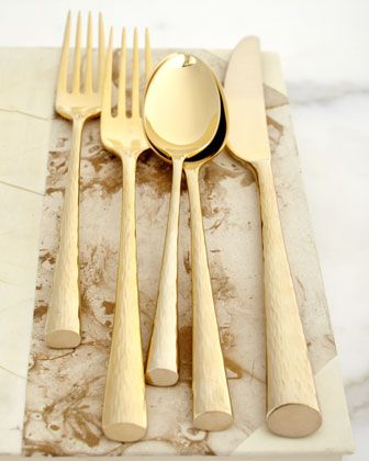 "Marchesa ""Imperial Caviar"" Gold Flatware – sold on Amazon"