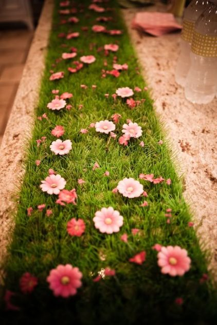 Pink Flowers on Green Grass Tablescape Décor – shared on P Is For Party