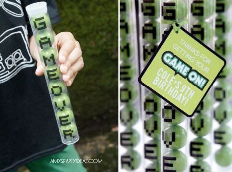 Game Over Gumball Party Favors – shared by Bloom Designs