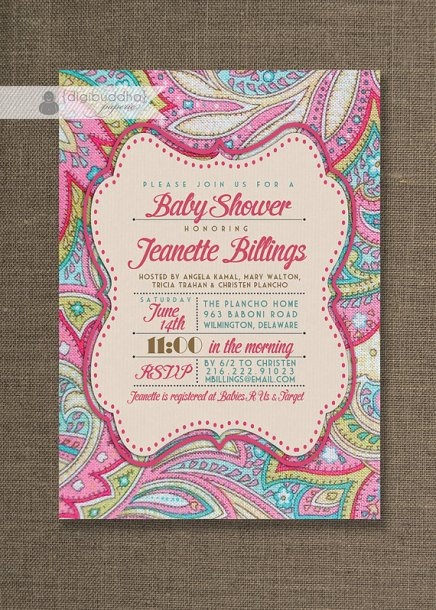 Pink Paisley Baby Shower Digital Invitation – made by digibuddhaPaperie on Etsy