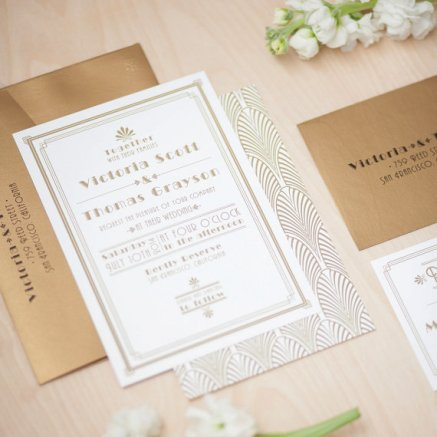 Art Deco Gold and White Wedding Invitation – created by JenSimpsonDesign on Etsy
