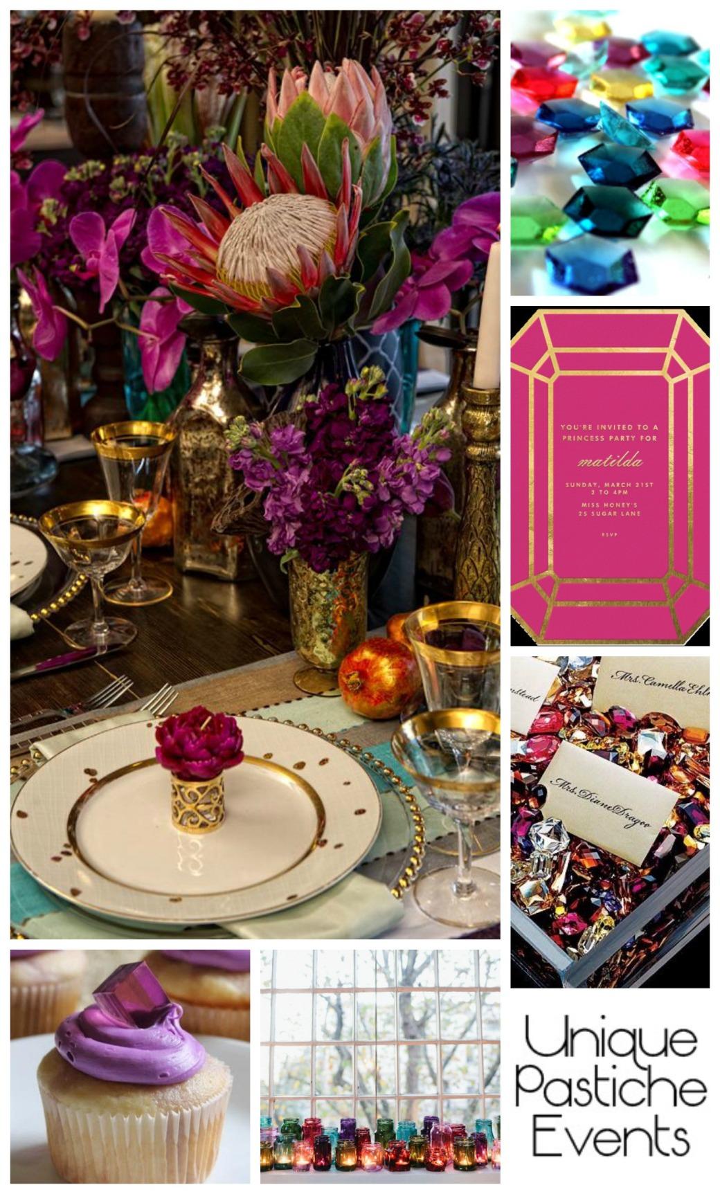Luxurious Gem Themed Party + Celebration Ideas Enjoy the full post here: https://uniquepasticheevents.com/2015/06/03/luxurious-gem-themed-party-celebration-ideas/