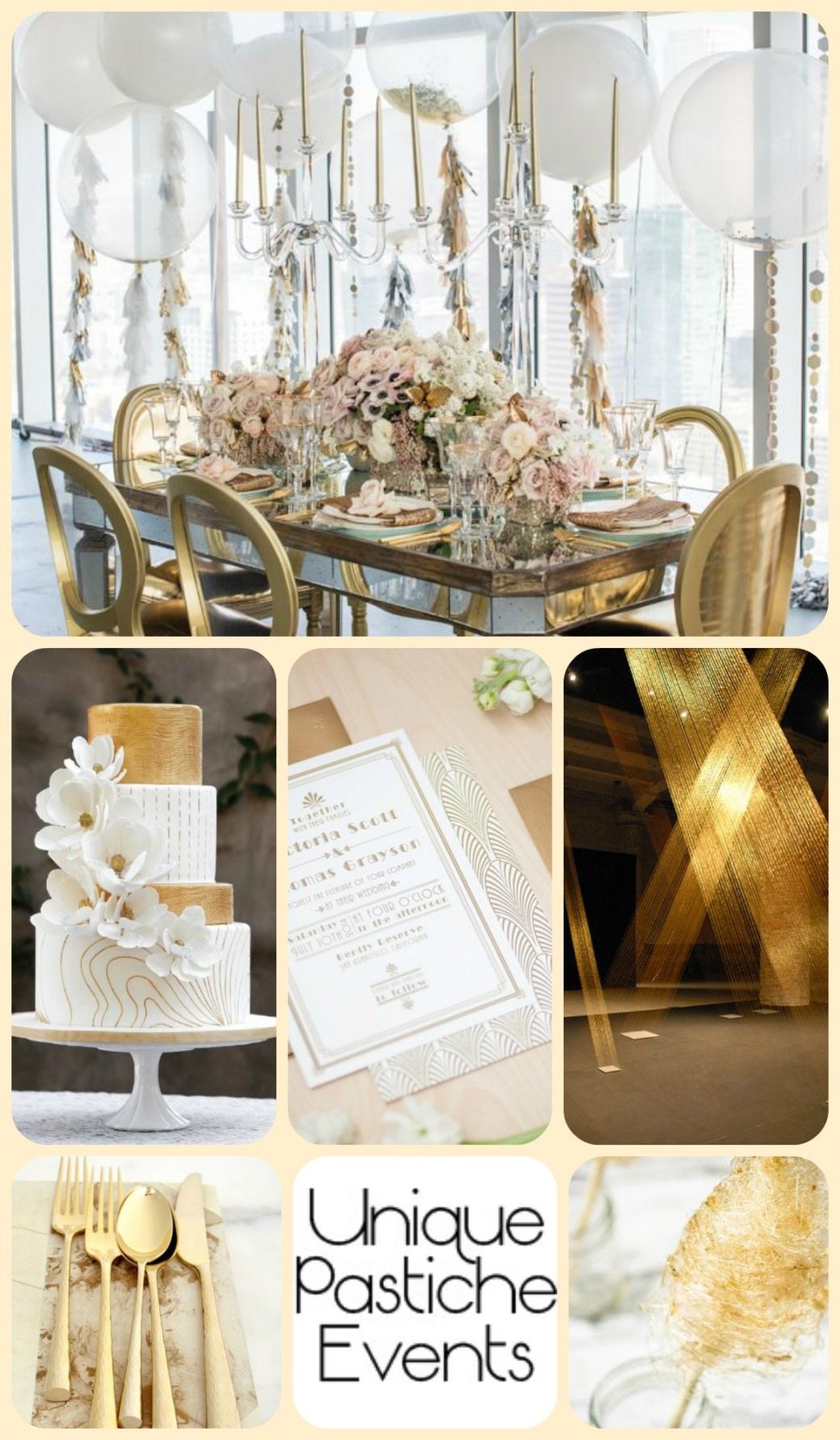 Modern Gold + White Celebration Inspiration Board See the full post: https://uniquepasticheevents.com/2015/06/24/modern-gold-white-celebration/