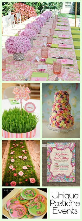 Pink + Lime Green – Paisley Summer Party Ideas Read the full post with all the details: https://uniquepasticheevents.com/2015/06/17/pink-lime-green-paisley-summer-party-ideas/