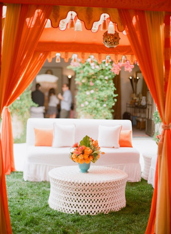 Orange and White Lounge Area Tents – shared on Inspired by This