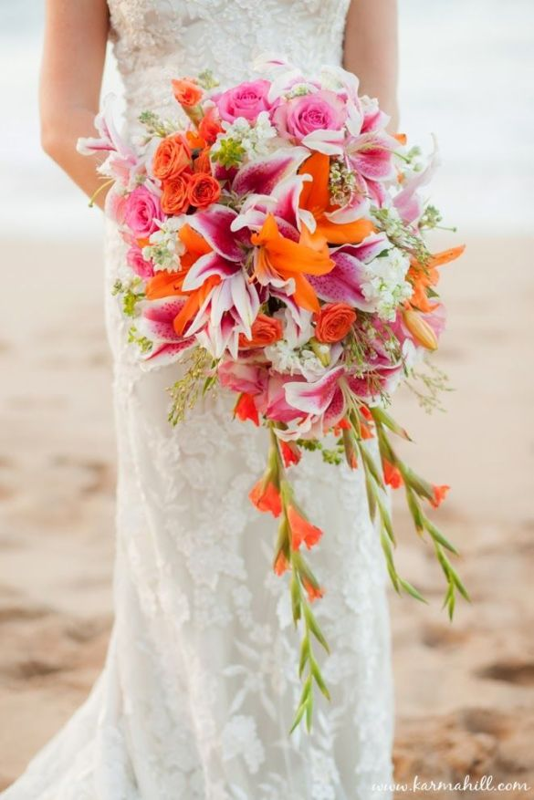 Pink and Orange Lily Wedding Bouquet – shared by Simple Maui Weddings
