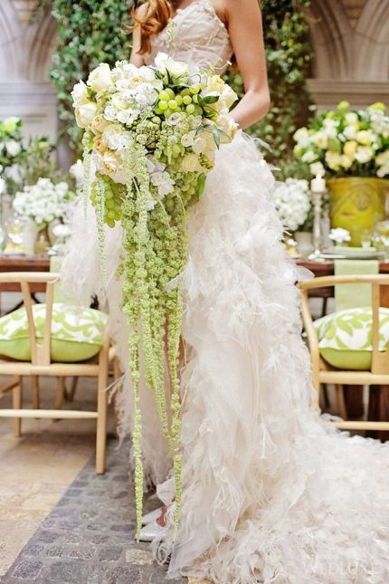 Cascading Green and Cream Floral Bouquet – shared on Wedluxe