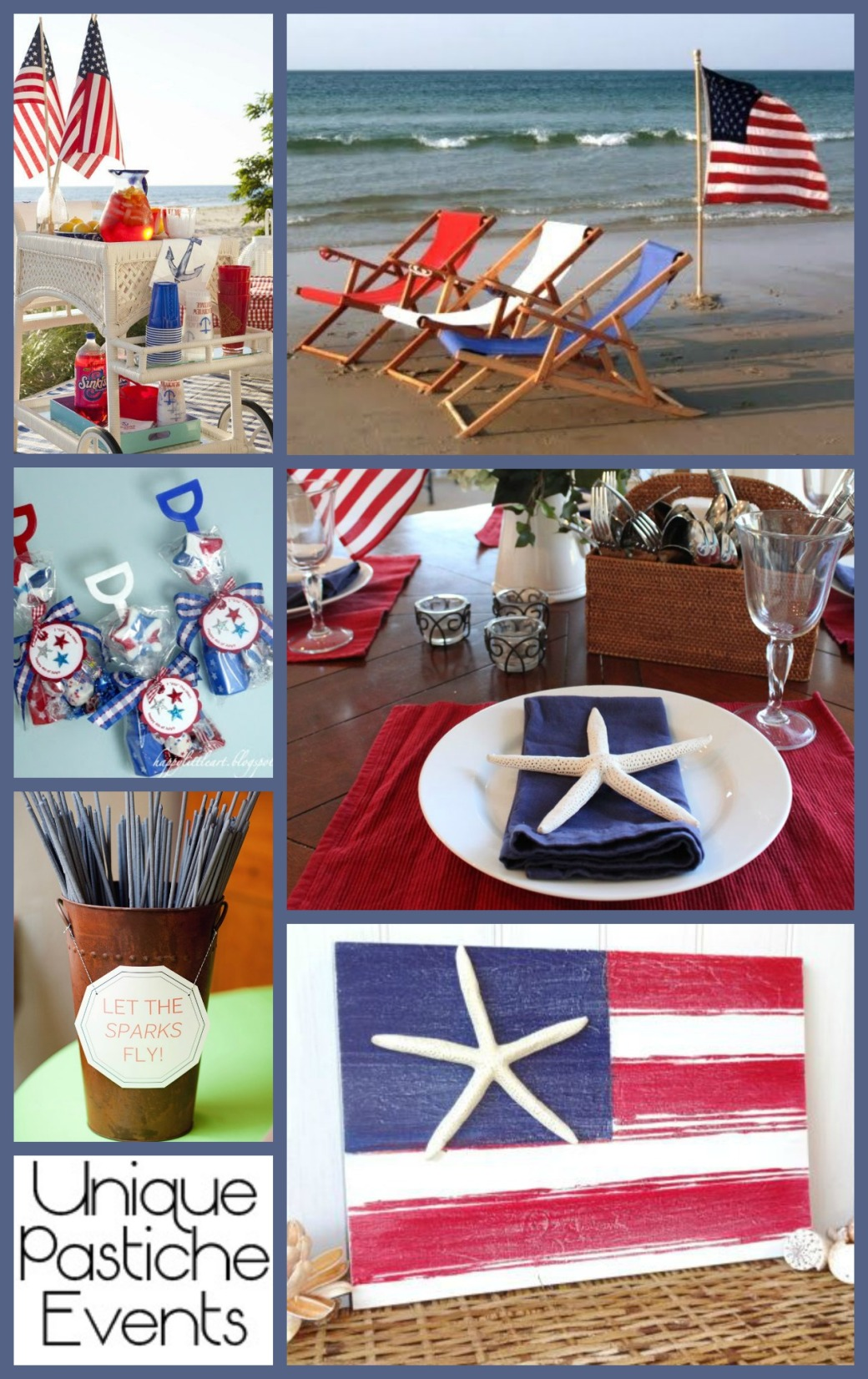 Beach-side 4th of July Party Ideas See all the details in the full post: https://uniquepasticheevents.com/2015/07/01/beach-side-4th-of-july-party-ideas/