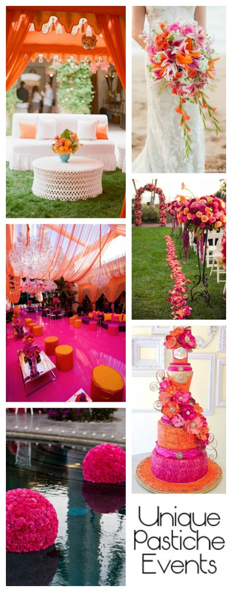 Hot Pink and Orange Summer Wedding Ideas Find out who made what in this wedding idea board: https://uniquepasticheevents.com/2015/07/15/hot-pink-and-orange-summer-wedding-ideas/