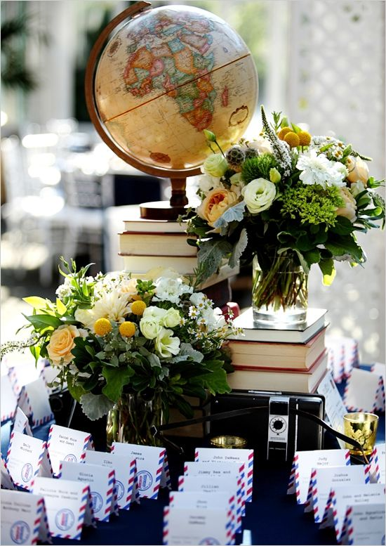 Travel unique pastiche events escort card table with globe and florals captured and shared by ohana photographers junglespirit Choice Image