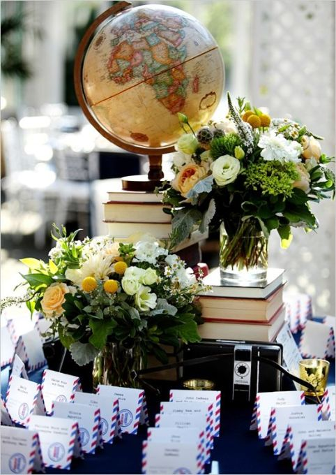 Escort Card Table with Globe and Florals – captured and shared by Ohana Photographers