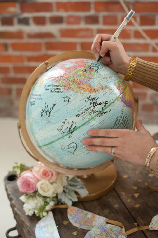 Globetrotter Glam Wedding Traveler Guestbook – captured by Kelly Benton Photography on Ruffled