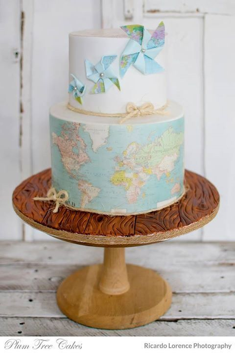 Travel Map and Pinwheel Cake – created by Plum Tree Cakes