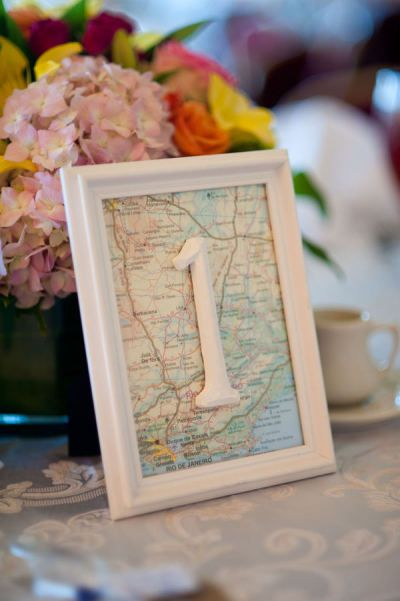 Travel Map Table Number – shared by Light Love Laughter Photography on Style Me Pretty