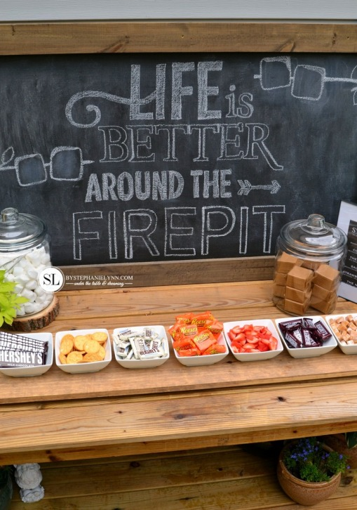 Fire Pit S'mores Bar – shared on By Stephanie Lynn