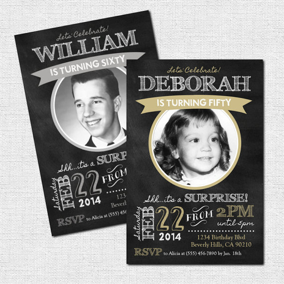 Photo and Chalkboard Milestone Birthday Party Invitations – made by nowanorris on Etsy