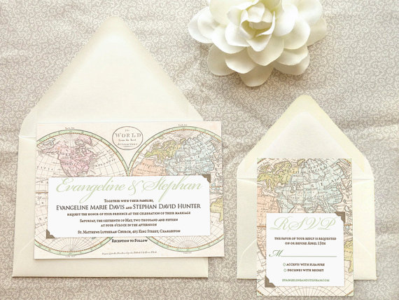 Old World Map Travel Wedding Invitation – made and sold by merrymint on Etsy
