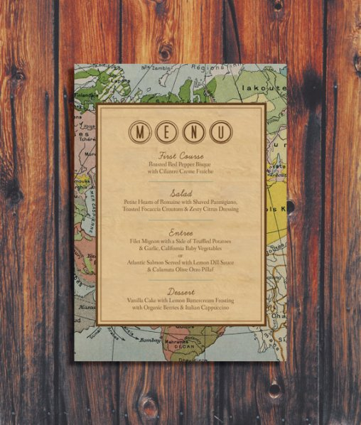 Vintage Travel Themed Wedding Menu – created and sold by ConteurCo on Etsy