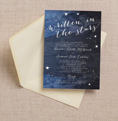 Constellation Stars Midnight Blue Wedding Invitation – made by HipHipHoorayStudio on Etsy