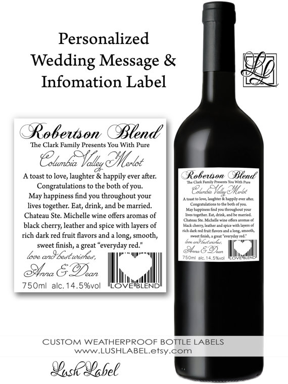 Custom Personalized Wine Bottle Label – made by LushLabel on Etsy