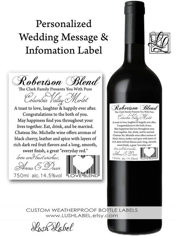 Custom Personalized Wine Bottle Label – made by LushLabel on Etsy
