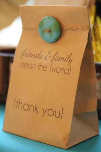Friends and Family Mean the World / Thank You Goodie Party Favor Bag – shared by Peckled on Hostess with the Mostess