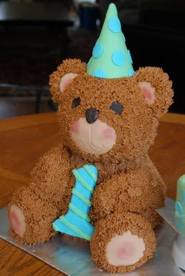 Cuddly Teddy First Birthday Teddy Bear Cake – created by Tricia at Something Sweet Cakery