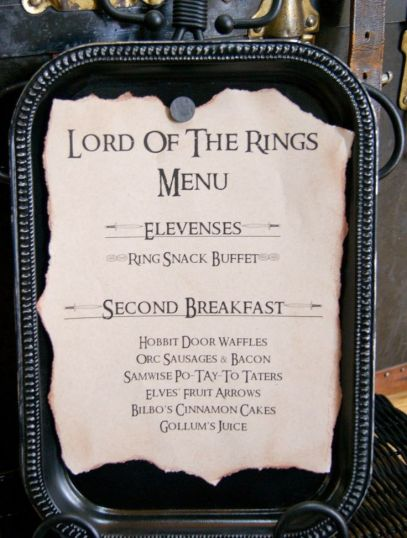 Lord of the Rings Party Menu – shared by Michelle Paige
