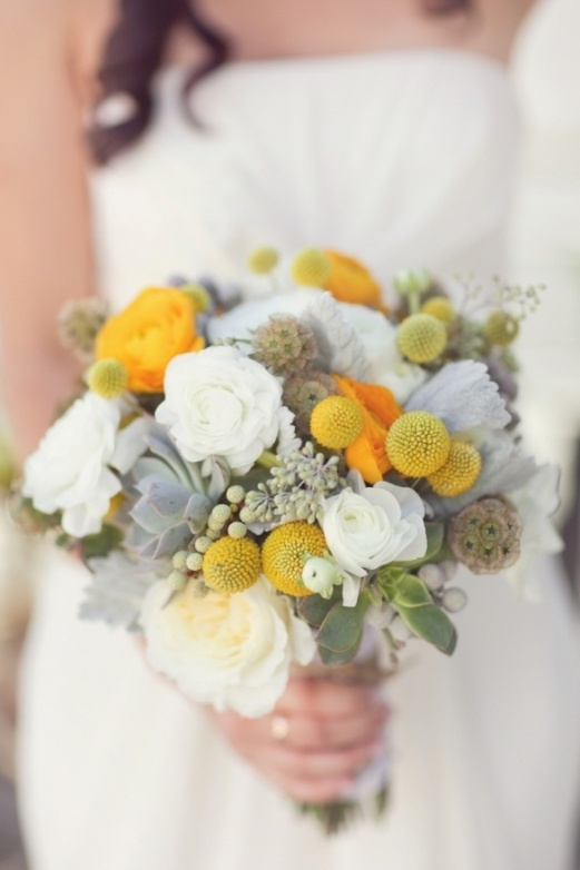 Silver, White and Yellow Wedding Bouquet – shared in a roundup post by Miss Mustard Seed