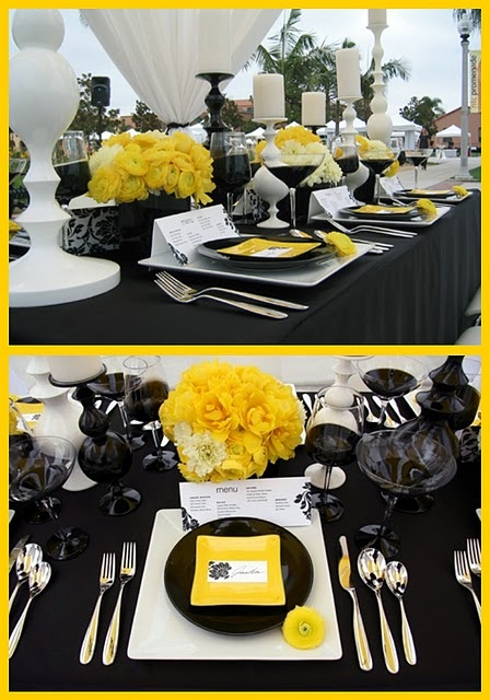 Black, Yellow and White Tablescape and Centerpiece – shared in a roundup post on Celebrations at Home