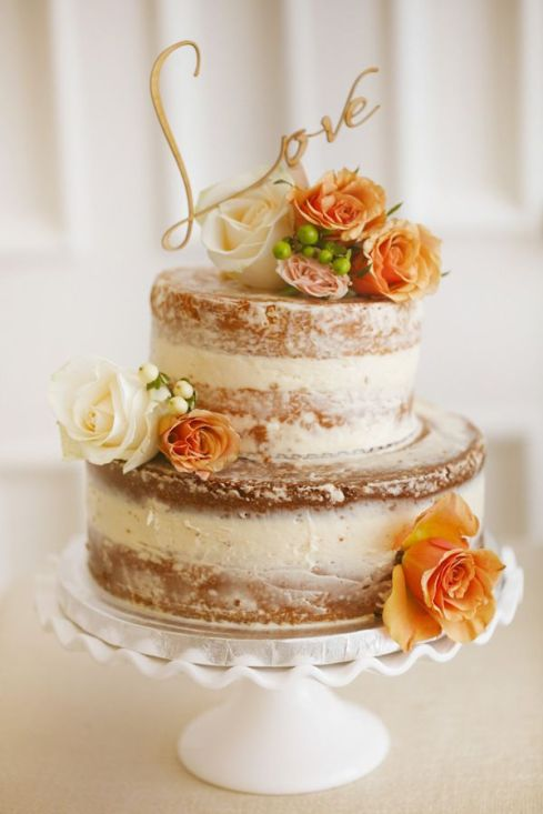 Two Tier Naked Wedding Cake – shared in a roundup post on My Wedding