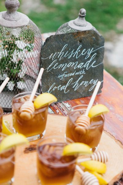 Whiskey Lemonade Cocktail with Infused Local Honey – shared on Style Me Pretty