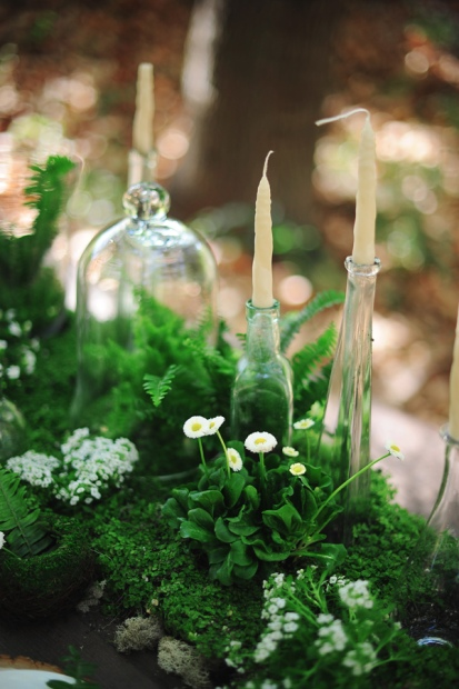 Ferns, Candles and Glass Tablescape – shared on Ruffled Blog