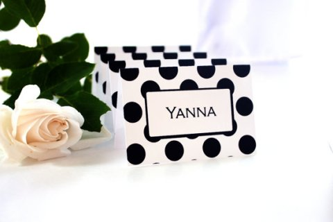 Printable Black on White Polka Dot Place Cards – created and sold by ThePoshEvent on Etsy
