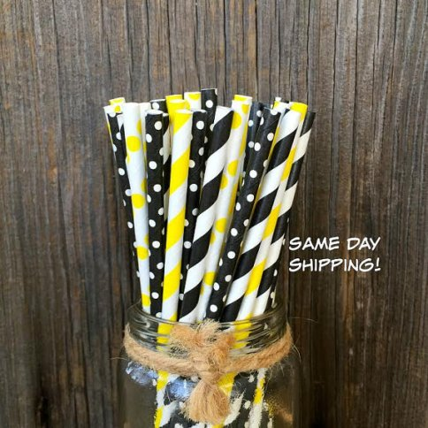 Black and Yellow Polka Dot and Stripe Paper Straws – made and sold by OutsidetheBoxPapers on Etsy