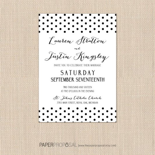 Polka Dot Invitations – created and sold by ThePaperProposal on Etsy