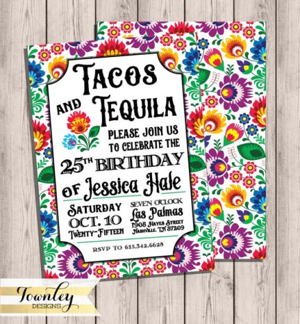 Taco and Tequila Fiesta Invitation Printable – created and sold by TownleyDesigns on Etsy