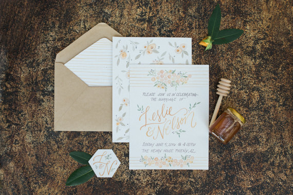 Honeycomb Watercolor Invitation – sold by ColeyCreated on Etsy