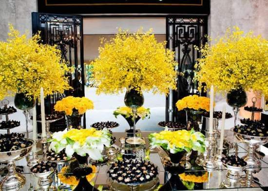 Yellow and Black with Mirror Party Food Buffet Station – shared on Hosting Essence