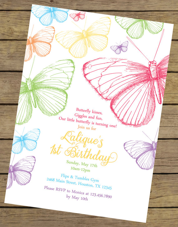 Rainbow Butterfly Birthday Invitation Created And Sold By CharlesAlexDesign On Etsy