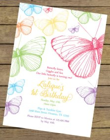 Rainbow Butterfly Birthday Invitation – created and sold by CharlesAlexDesign on Etsy