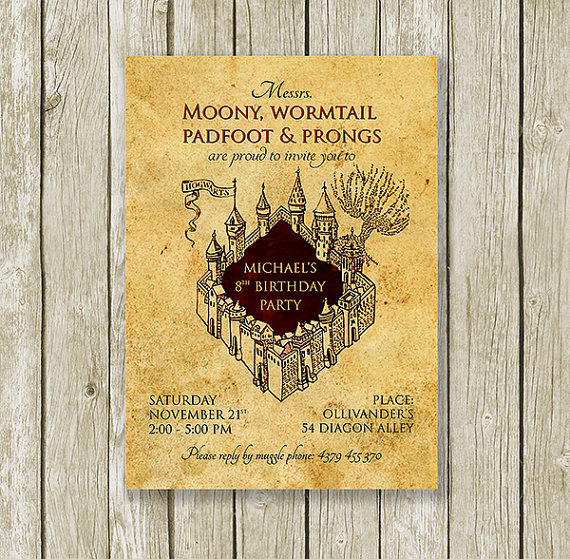 Marauders map harry potter birthday invitation printable created marauders map harry potter birthday invitation printable created and sold by printymuch on etsy filmwisefo