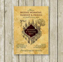 Marauder's Map Harry Potter Birthday Invitation Printable – created and sold by PrintyMuch on Etsy