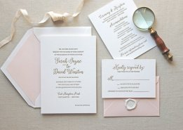 Letterpress Wedding Invitation Magnolia Design – created and sold by CHATHAMandCARON on Etsy